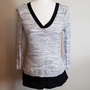 ⭐ Calvin Klein Sheer Panel Marled Gray V Neck Top